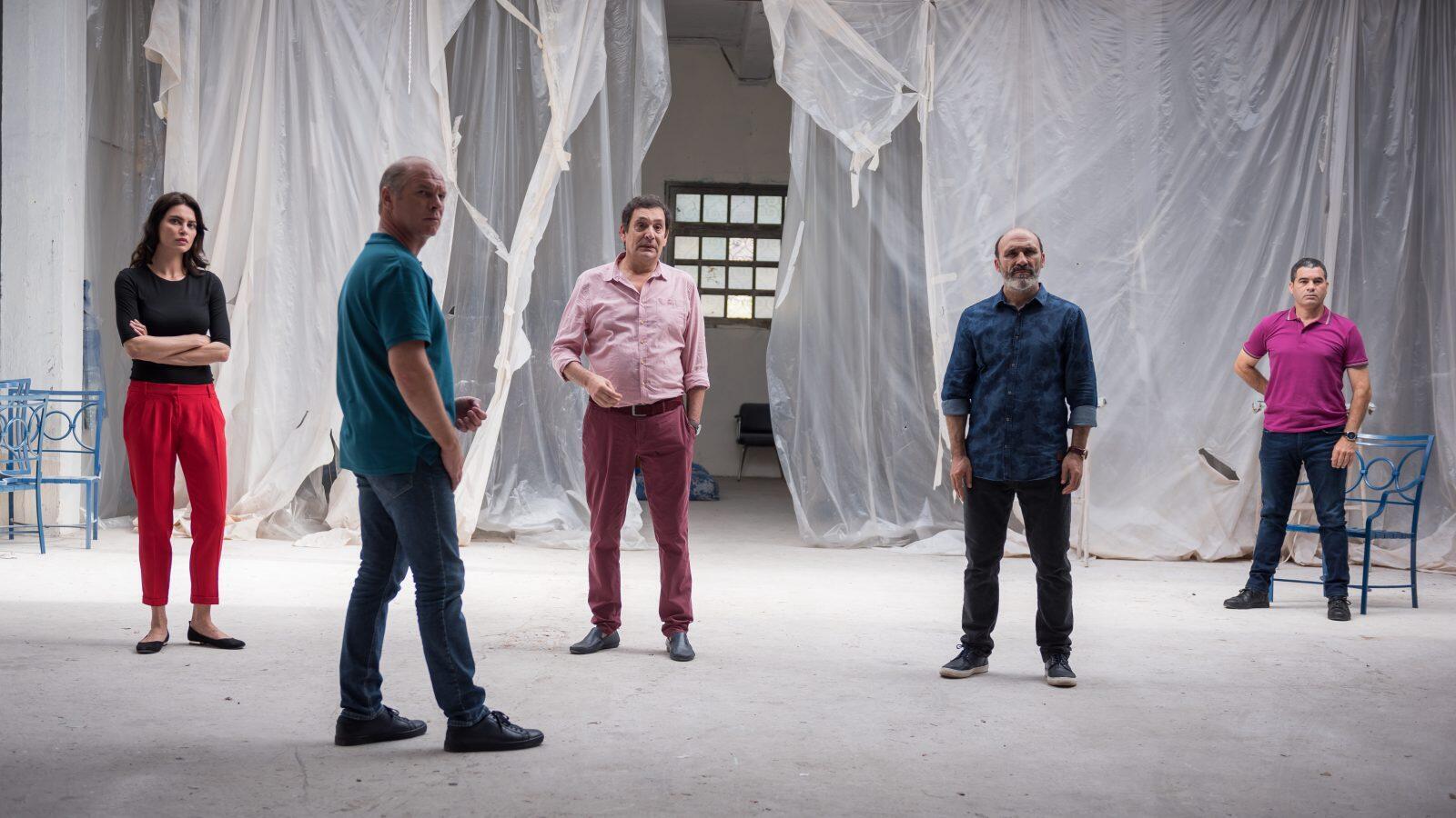 Catrinel Marlon, Vlad Ivanov, Agustí Villaronga et Antonio Buíl dans « Les Siffleurs », de Corneliu Porumboiu.