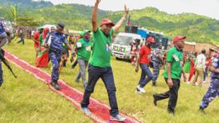 Agathon Rwasa, mmoja wa wapinzani wakuu nchini Burundi, kiongozi wa chama cha CNL, mgombea urais wa mwaka 2020, kwenye kampeni yake ya uchaguzi.