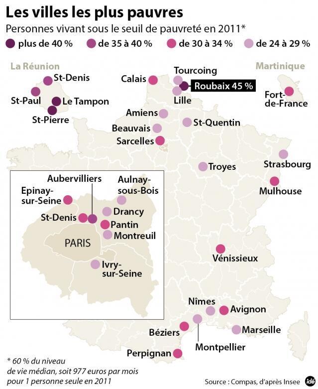 Карта самых бедных городов Франции