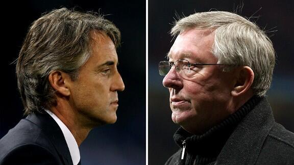 Kocha Roberto Mancini wa Manchester  City na kocha  Alex Ferguson wa Mancester United