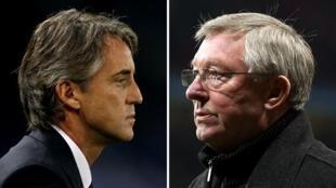 Roberto Mancini na Manchester  City da  Alex Ferguson na Manchester United