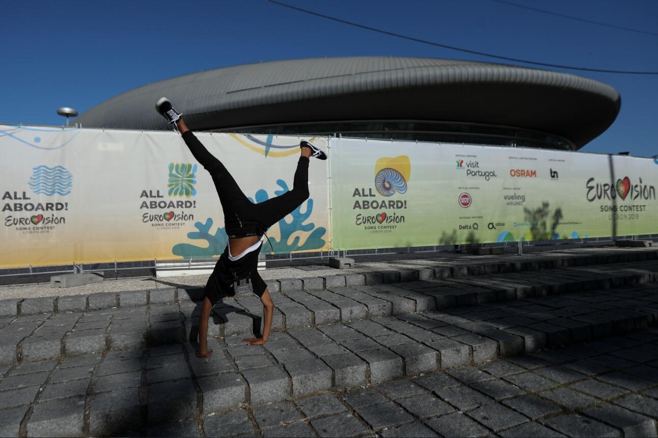 Altice Arena é palco principal do 63º Festival Eurovisão da Canção em Lisboa, Portugal.