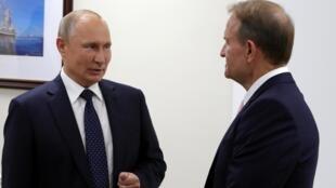 Vladimir Poutine en compagnie du député ukrainien Viktor Medvedtchouk, le 5 septembre 2019.