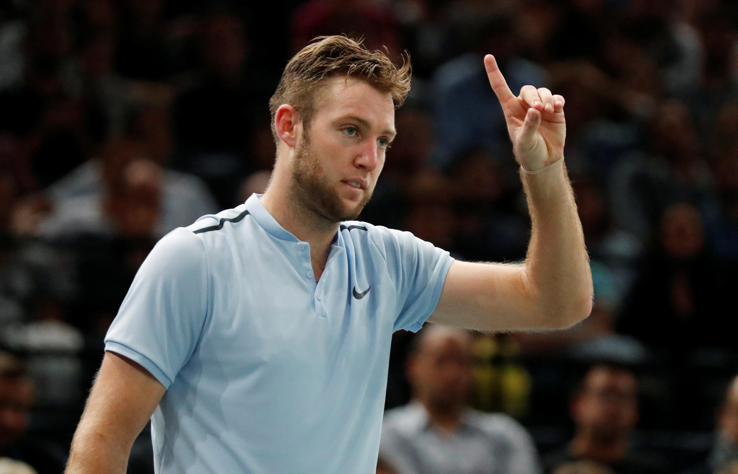Jack Sock ousted the French veteran Julien Benneteau to reach the Paris Masters final.