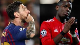 Lionel Messi (FC Barcelone) et Paul Pogba (Manchester United).