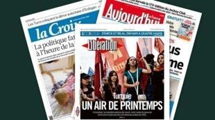 Capa dos jornais franceses, Libération, La Croix e Aujourd'hui en France desta segunda-feira, 03 de junho