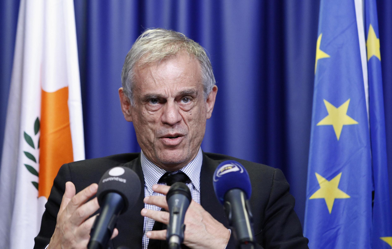 Le ministre démissionnaire Michalis Sarris, le 25 mars à Bruxelles.