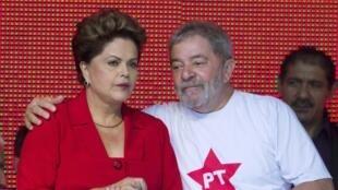 A presidente Dilma Roussef e o ex-presidente Lula durante a Convenção do PT, em Brasília.