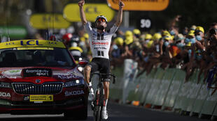 Marc Hirschi won his first stage of a Tour de France in Sarran.