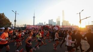 La maratón internacional de Shanghái China, disputada el 29 de noviembre de 2020