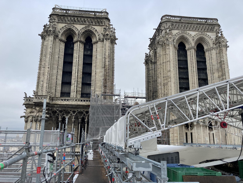 En el sitio de Notre Dame, dos años después de que estallara el incendio.  19 de febrero de 2021