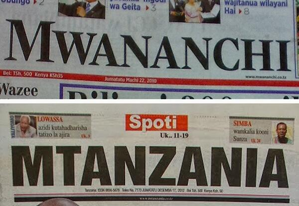 Tanzania Government ban for 14 days two newspapers