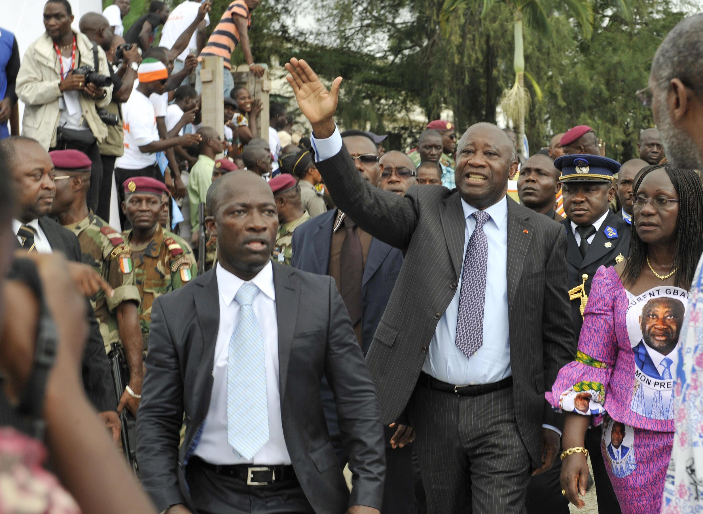 Charles Blé Goudé et Laurent Gbagbo, en octobre 2010 pendant la campagne présidentielle, avant la crise post-électorale.