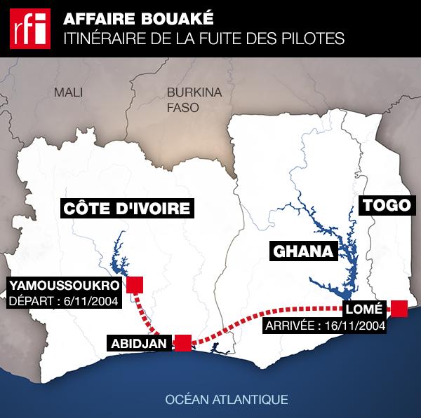 L'itinéraire emprunté par les deux pilotes pour fuir la Côte d'Ivoire.