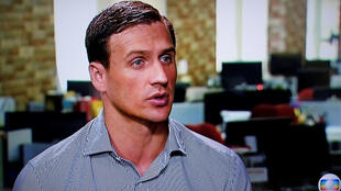 US Swimmer Ryan Lochte gives an interview to Globo TV in New York City on Saturday.