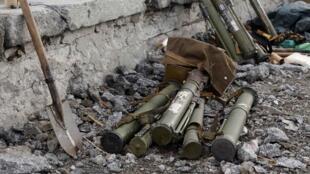 Un stock d'armes à Savur-Mohyla, sur les hauteurs de la ville de Donetsk, le 28 août 2014.