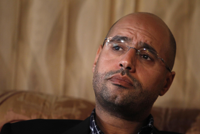 Сейф аль-Ислам, сын Муаммара Каддафи во время интервью в Триполи. Март 2011