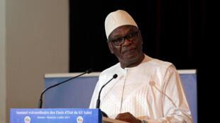 Le président malien, Ibrahim Boubacar Keïta, lors du G5 Sahel au palais présidentiel à Bamako, le 2 juillet 2017.
