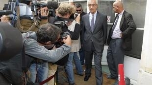 French lawyer Leborgne, who represents French Labour Minister Woerth, speaks to the media in Paris