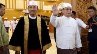 Tổng thống Thein Sein (phải) và chủ tịch Hạ viện Shwe Mann tới cuộc họp Quốc hội lưỡng viện, Naypyitaw, 28/01/2016.
