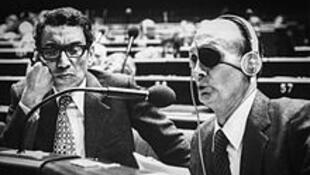 Boutros Boutros-Ghali et Moshe Dayan au Conseil de l'Europe à Strasbourg, le 10 octobre 1979.