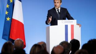 Le président Macron s'adresse pour la première fois aux ambassadeurs, le 29 août 2017 à l'Elysée, à Paris.