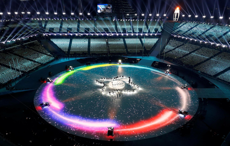 Cerimônia de encerramento dos Jogos de Inverno da Coreia do Sul, em 25 de fevereiro de 2018.