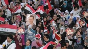Assad supporters demonstrate in Aleppo two days ago