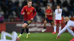 La joie de l'attaquant espagnol Daniel Olmo, après son but victorieux marqué dans le temps additionnel face à la Géorgie, lors de leur match de qualification pour le Mondial 2022, le 28 mars 2021 à Tbilisi
