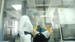 Des scientifiques de l'Institut Pasteur de Dakar travaillent sur des prélèvements à la recherche du coronavirus.
