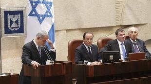 French President François Hollande at the Israeli parliament