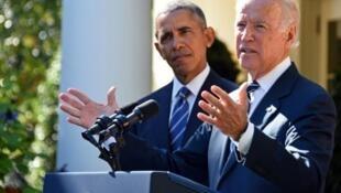 Phó tổng thống Mỹ Joe Biden và Tổng thống Barack Obama, tại Washington 21/10/2015.