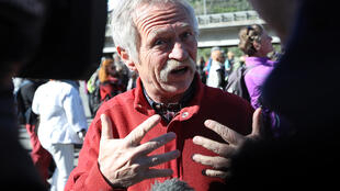 José Bové, le 30 avril 2018, à Vintimille, au début de la marche citoyenne et solidaire pour les migrants.