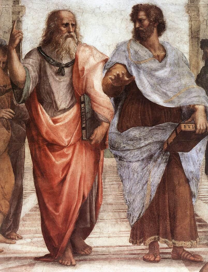 """អារីស្តូត (ស្តាំ) ជាមួយផ្លាតុងដែលជាគ្រូ នៅក្នុងរូបគំនូរ """"School of Athens"""" គូរដោយ Raphael"""