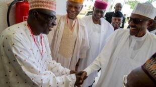 Tsohon shugaban jam'iyyar adawa ta PDP Ahmed Makarfi, yayin gaisawa da shugaban Najeriya Muhammadu Buhari.