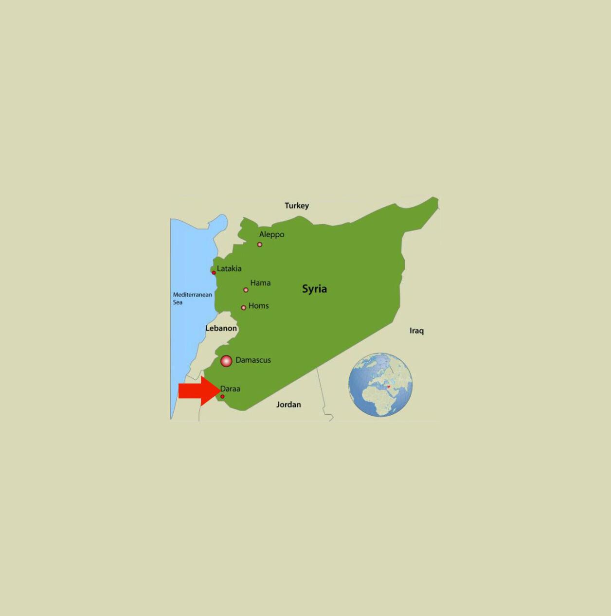 """موقعیت جغرافیایی استان """"درعا"""" در نقشه سوریه."""
