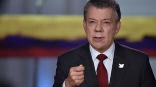 El presidente de Colombia, Juan Manuel Santos, el 22 de noviembre de 2016 durante una alocución en Bogotá.