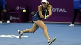 Caroline Wozniacki during the Qatar Open competition in Doha on 15 February 2018.