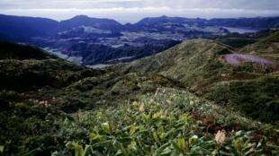 Vue de São Miguel, île principale de l'archipel des Açores.