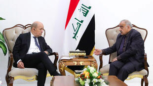 French Foreign Minister Jean-Yves Le Drian is hosted by Iraqi Prime Minister Adel Abdul Mahdi in Baghdad on 17 October, 2019.