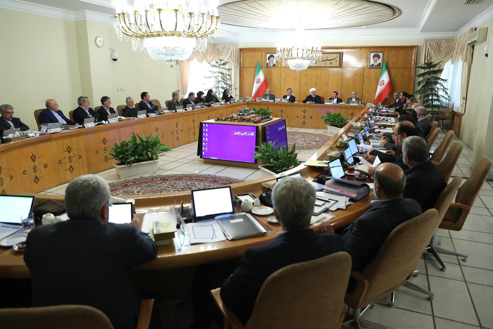 جسن روحانی، رئیس جمهوزی اسلامی ایران در جلسه هیأت دولت. چهارشنبه ٣٠ آبان/ ٢١ نوامبر ٢٠۱٨