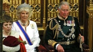 Britain's Prince Charles and his wife Camilla, Duchess of Cornwall, in the House of Lords, during the State Opening of Parliament 27 May