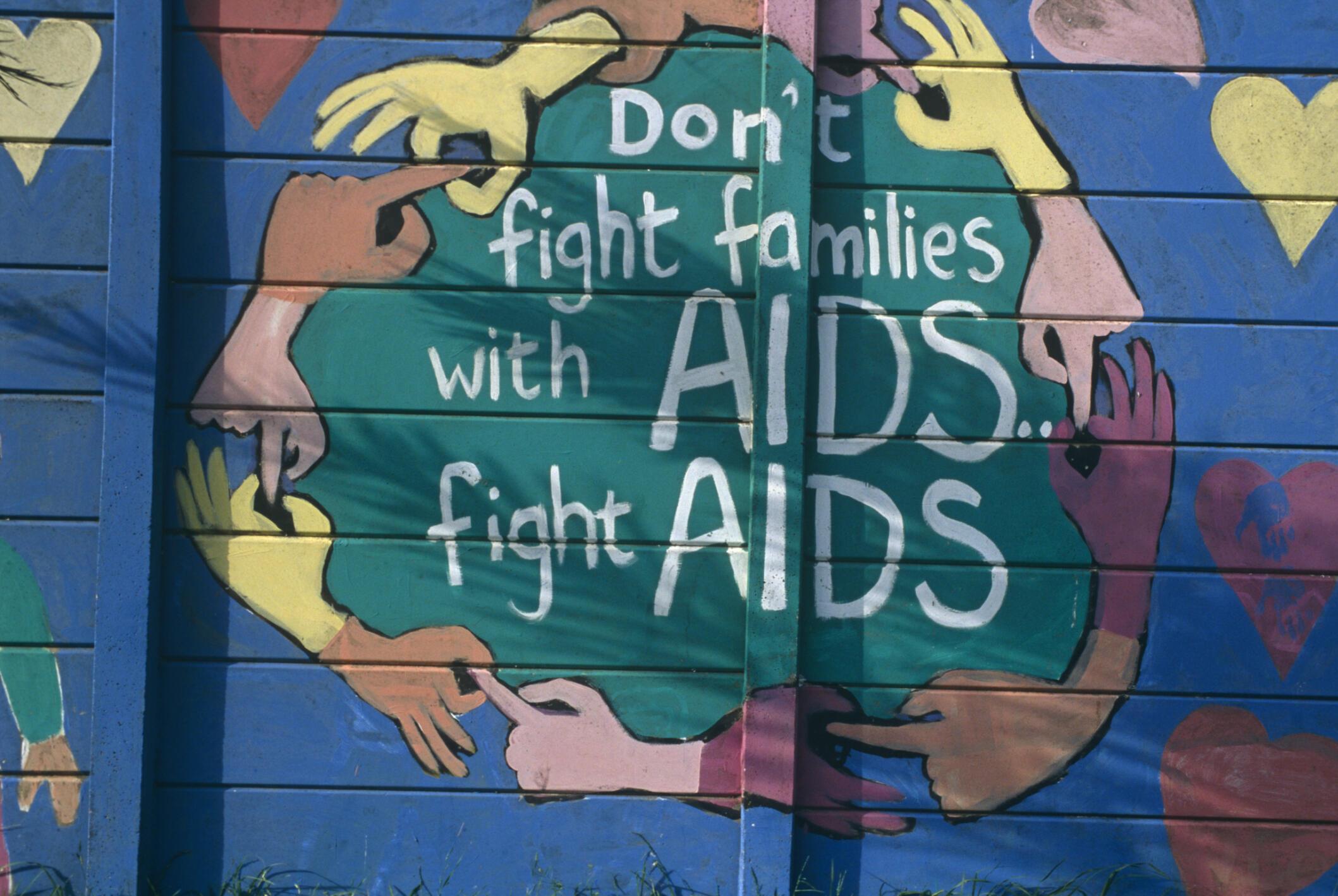 Affiche alertant sur le problème du sida en Afrique du Sud et appelant à lutter contre la maladie.