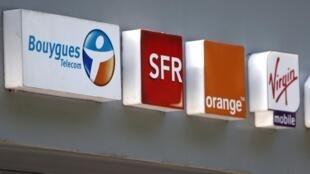 French telecom operators Bouygues Telecom, SFR , Orange, Virgin and NRJ logos