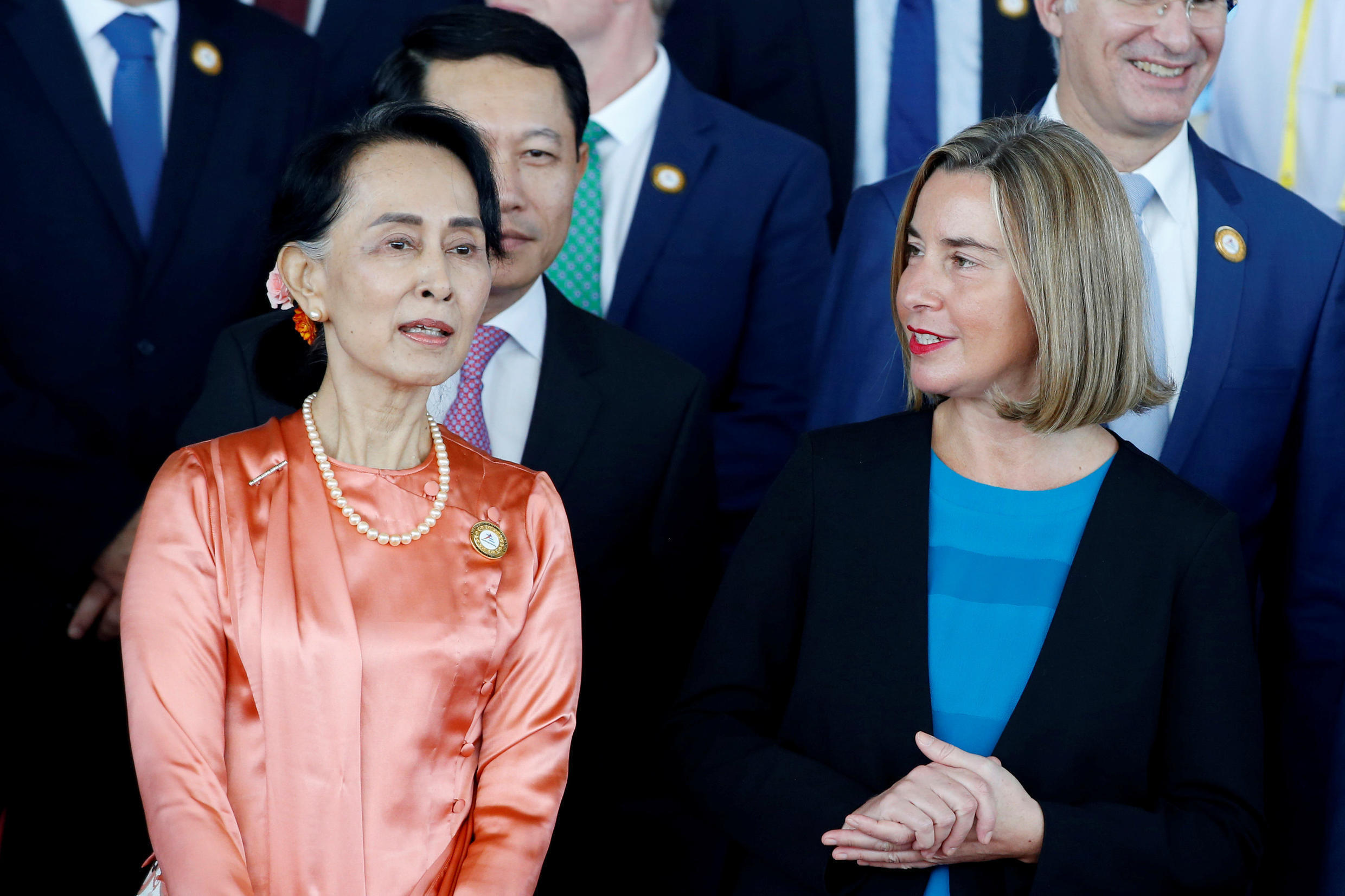 Myanmar State Counselor Aung San Suu Kyi talks with High Representative of European Union Federica Mogherini during the 13th Asia-Europe Meeting of foreign ministers in Naypyitaw.