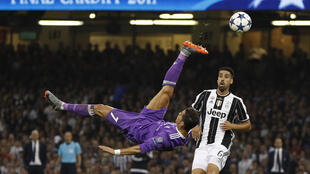 Real Madrid's Cristiano Ronaldo attempts an overhead kick.