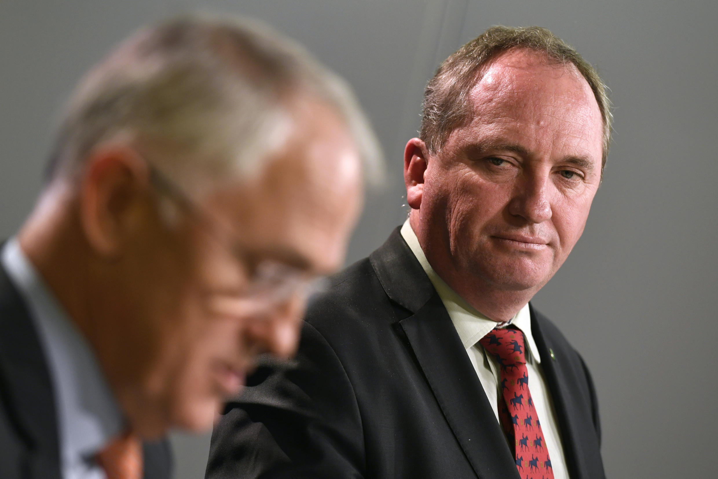 Australia's Deputy Prime Minister Barnaby Joyce with Prime Minister Malcolm Turnbull at a press conference in Sydney last year