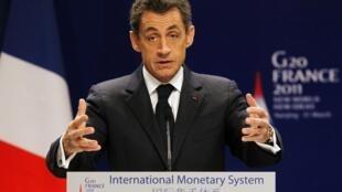 法國總統薩科齊在2011年3月31日南京舉行的二十國集團國際貨幣體系高級別研討會開幕式上發言