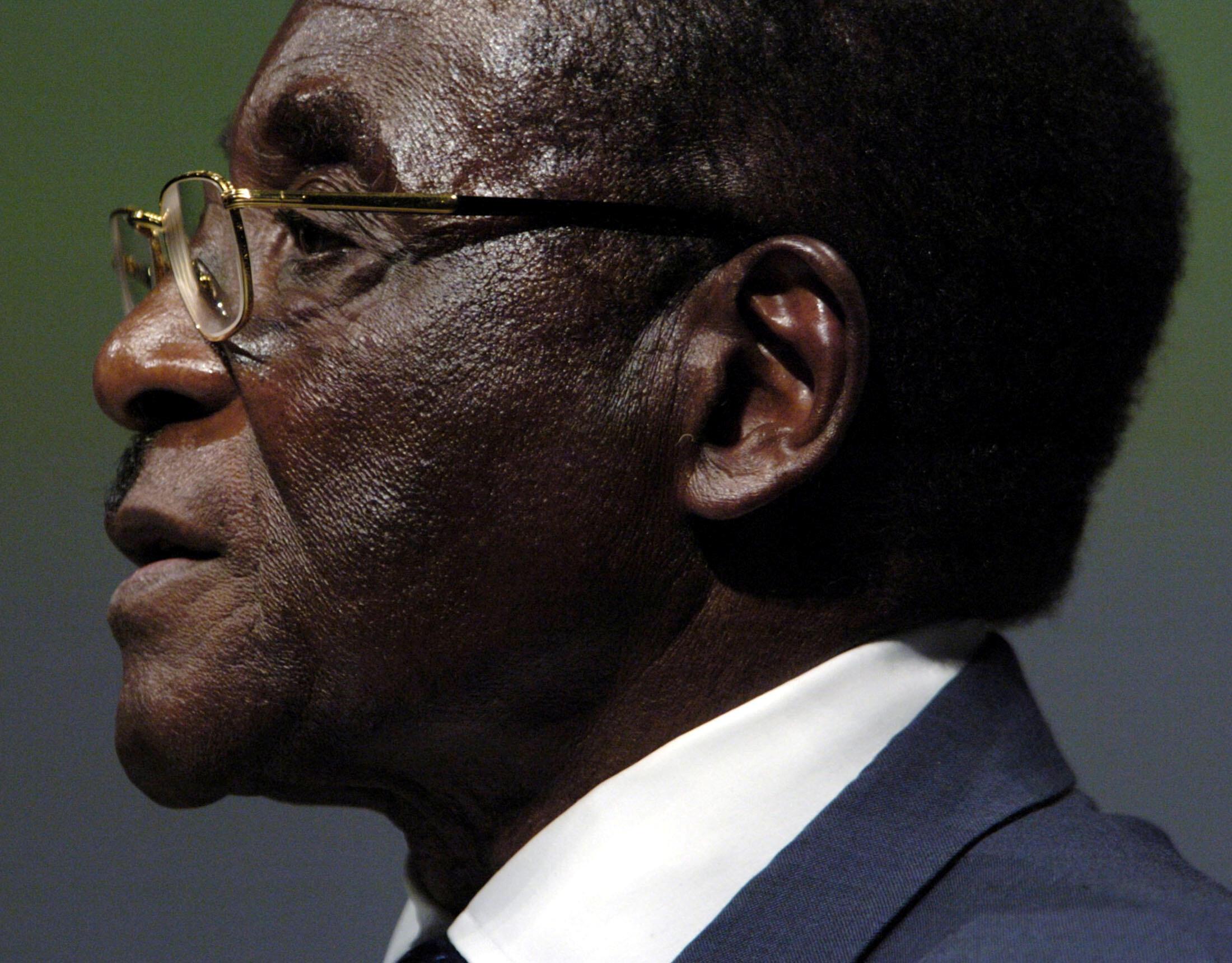 FILE PHOTO: Zimbabwean President Robert Mugabe addresses the Inaugural Session of the World Summit On Information Society in Geneva, Switzerland December 10, 2003.