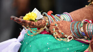 An Indian bride during a mass marriage at Gamdi village, India